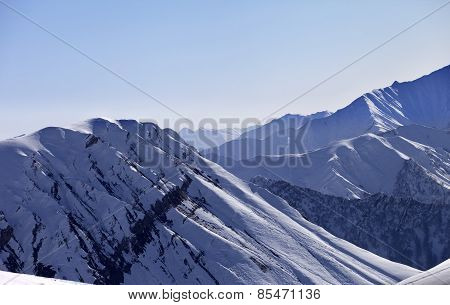 Snow Mountains In Morning
