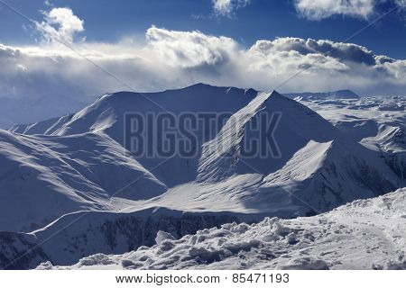 Snow Mountains In Nice Evening