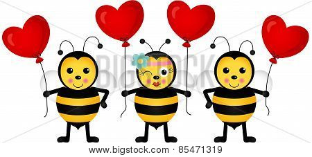 Cute bees with heart balloons