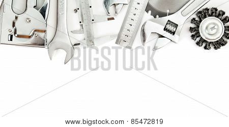 Metalwork. Wrench, caliper, measure and others tools on white background.