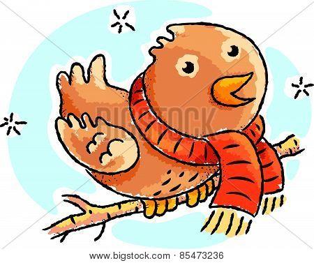 Cartoon bird wearing scarf on a winter day