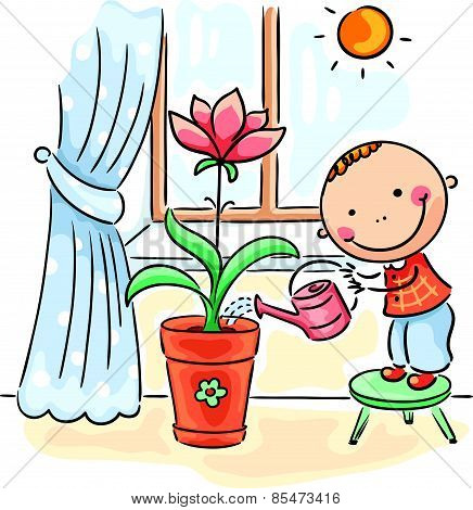 Child helping parents with the housework - watering flowers