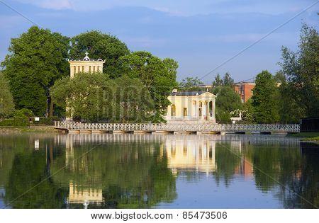 Russia Peterhof (Petrodvorets). Olga's Pavilion on island in Olga's pond.
