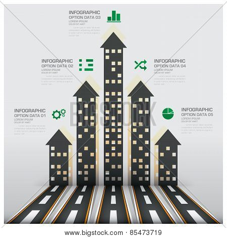 Real Estate And Property Business Infographic With Building Arrows Diagram