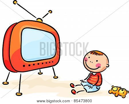 Child watching TV, isolated