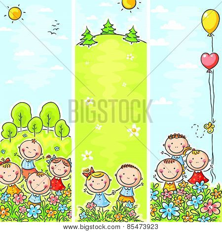 Vertical kids banners with copy space