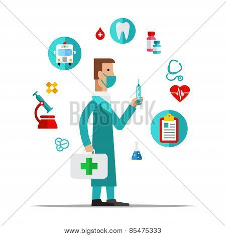 Doctor, Health care, medical items. Flat style vector