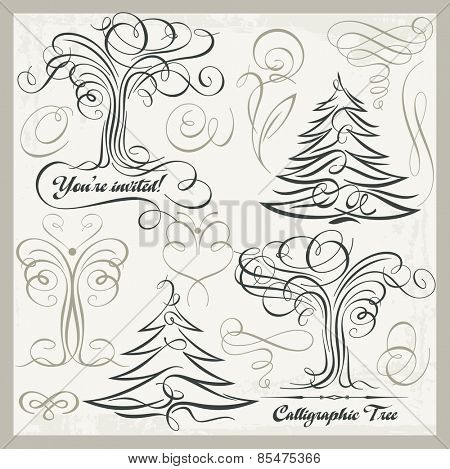 Vector set of 14 calligraphic design elements, trees, butterflies, florals, ornaments, scrolls. Vinyl-ready graphics, great for wall decals, vintage designs and wedding Invitations.
