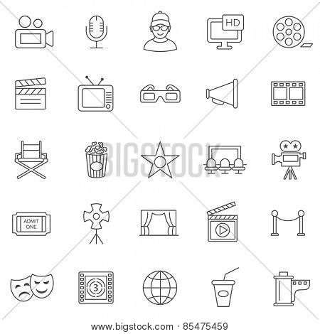 Movie line icons set.Vector