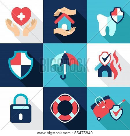 Insurance, asset protection, security. Flat style icons vector
