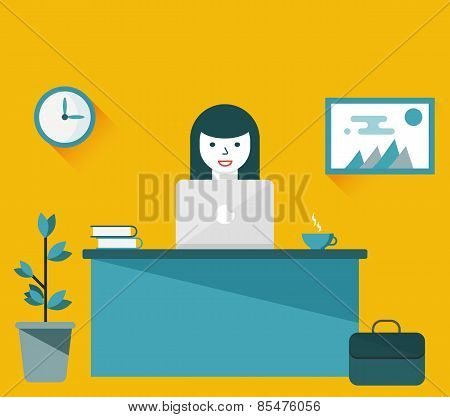 Girl Working At Computer