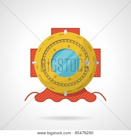 Colored flat vector icon for scuba helmet