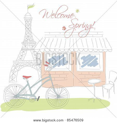 Welcome Spring In Paris Postcard, Hand Drawn