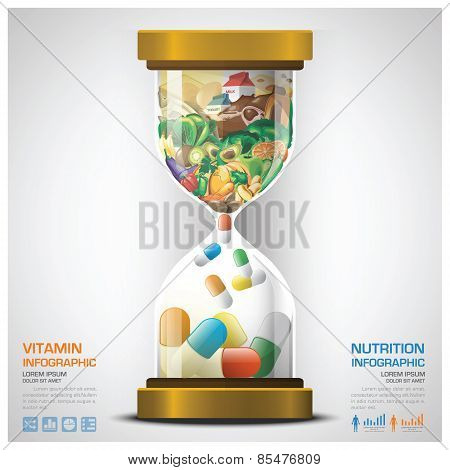 Vitamin And Nutrition Food With Sandglass Infographic