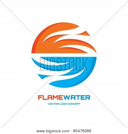 Flamewater - abstract vector logo concept illustration. Vector logo template. Design element.