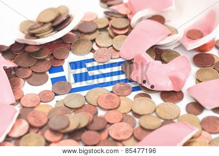 Broken Piggybank With A Flag Of Greece