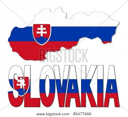 Slovakia map flag and text illustration
