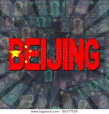 Beijing flag text on Yuan sunburst illustration