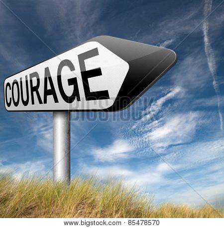 courage no fears and bravery the ability to confront fear pain danger uncertainty and intimidation fearless courageous road sign arrow