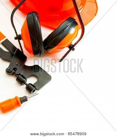 Orange style. Working tools on a white background.