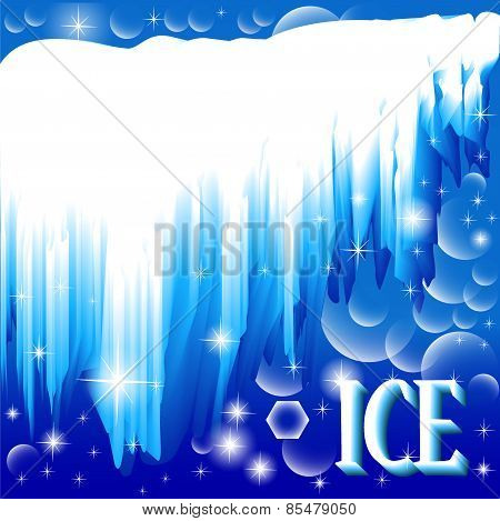 Background With Brilliant Ice And Inscription