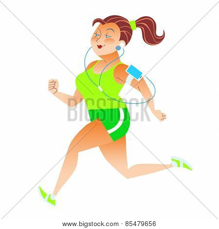 Sporty Woman Running Herding Weight Kilocalories Listens To Musi