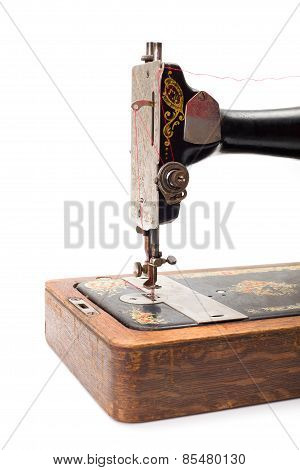 Close View Of An Old Hand Driven Sewing Machine