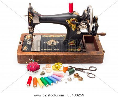 Old Sewing Machine And Accessories