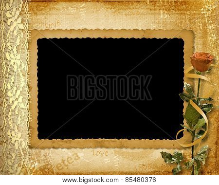 Card For Invitation Or Congratulation With Rose And Lace