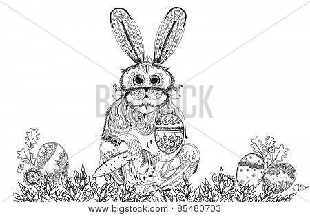 Easter bunny and eggs background, Sketch