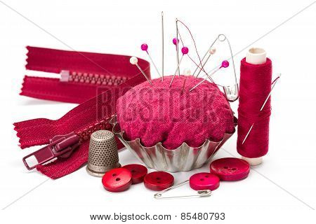 Sewing Accessories: Thread, Needle, Thimble And Pincushion