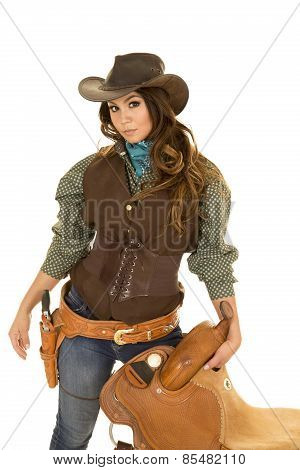 Cowgirl Holding Saddle Hand By Gun