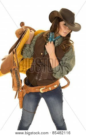 Cowgirl Hold Saddle On Shoulder
