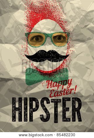Happy Easter, Hipster! Typographic retro grunge Easter greating card with the background of crumpled