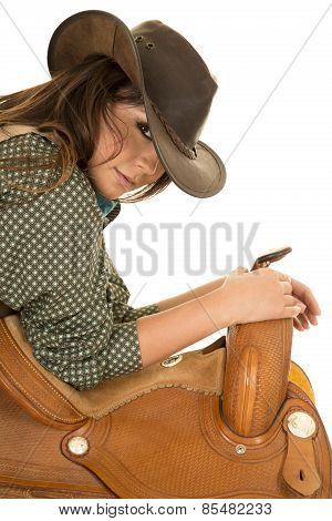 Cowgirl Lean On Saddle Hands On Horn Look