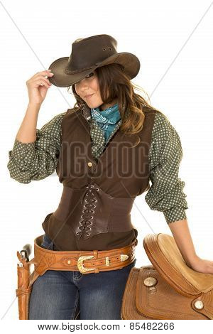 Cowgirl Stand By Saddle Look From Under Hat