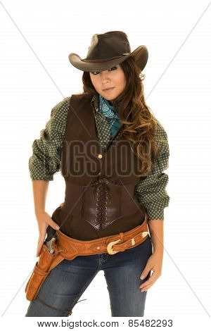 Cowgirl With Gun And Holster Hand On Gun