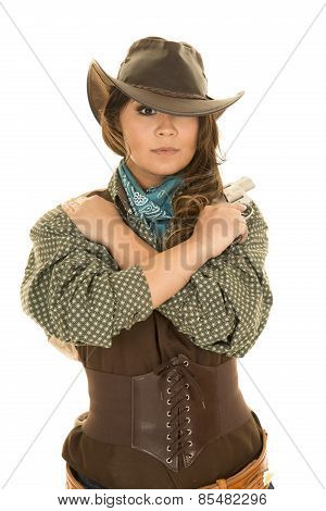 Cowgirl With Gun And Holster Arms Crossed Looking