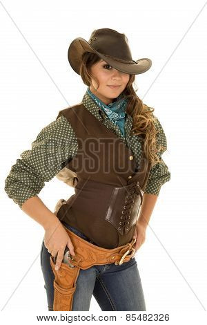 Cowgirl With Gun And Holster Ready To Draw