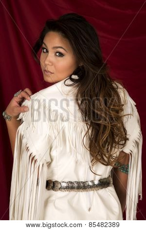 Native American Woman In White On Red Back Look Over Shoulder