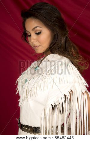 Native American Woman In White On Red Close Head Look Down