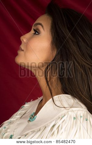 Native American Woman In White On Red Close Head Side