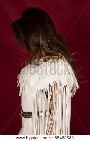 Native American Woman In White On Red Side Hair In Front Of Face