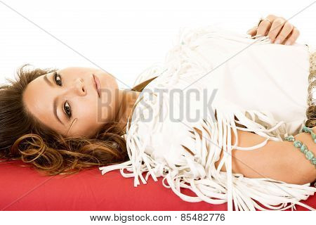 Native American Woman Lay Back On Red Sheet Close Hand On Top
