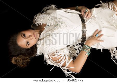 Native American Woman Lay Back Looking Hands By Hips