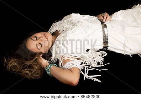 Native American Woman Laying With Eyes Closed Sleeping