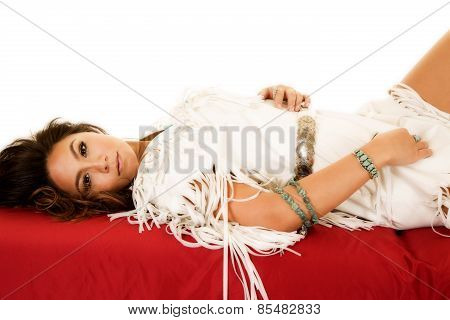 Native American Woman Lay Back On Red Sheet Part Of Leg Showing