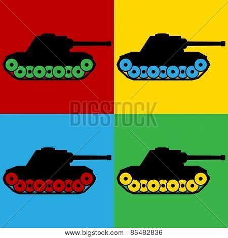 Pop Art Panzer Symbol Icons.