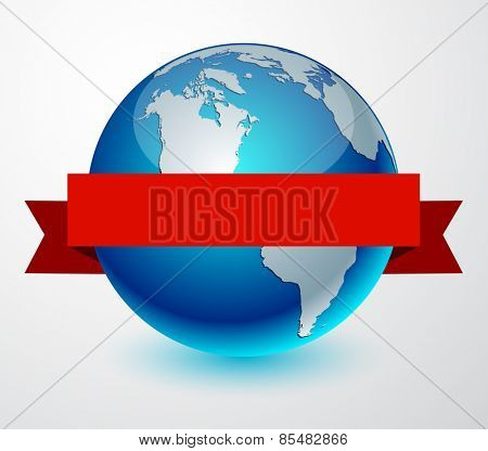 Earth globe with red ribbon. Vector illustration.
