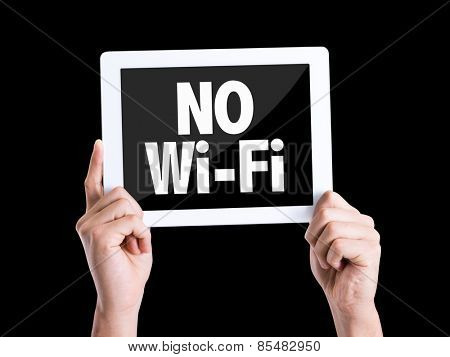 Tablet pc with text No Wi-Fi isolated on black background